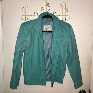 Vintage turquoise genuine leather jacket